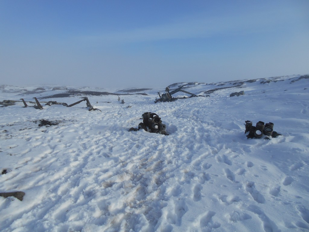 The wreckage site at higher Shelf Stones, temperatures and fog & darkness falling fast..