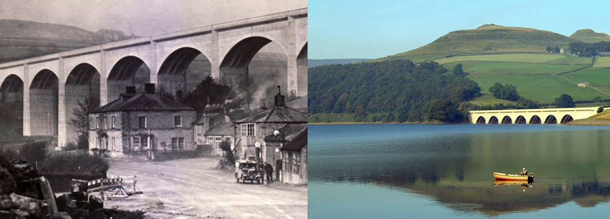 Ashopton Viaduct, then and now..